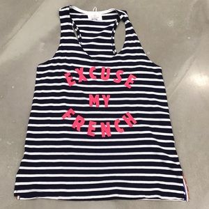 Sundry Excuse My French Racerback Tank Top